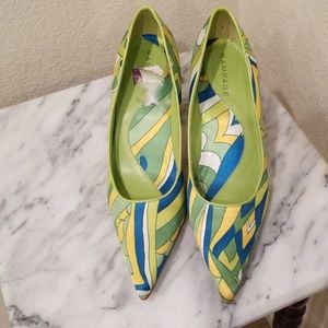 Rampage Pointed Toe Pumps Green, Blue, Yellow 9 M